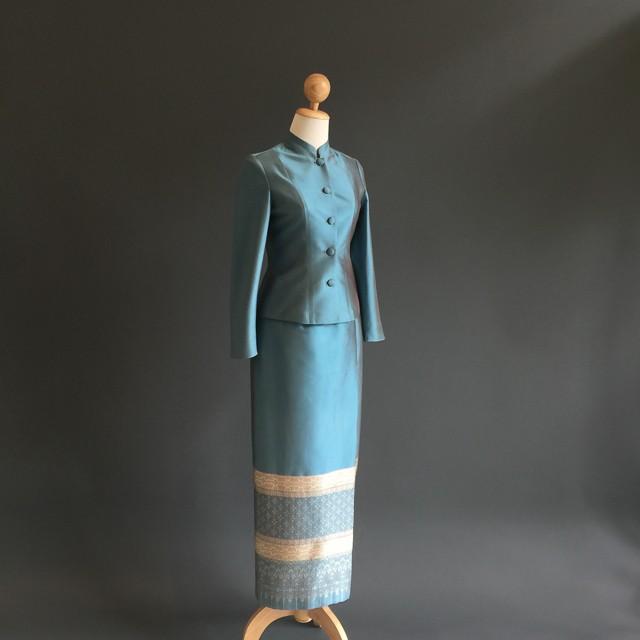 d4e621e81 Ready-to-wear :: Traditional Thai Dress :: Chitlada Traditional Thai Dress  in Royal Blue - Charoon Thai Silk Store